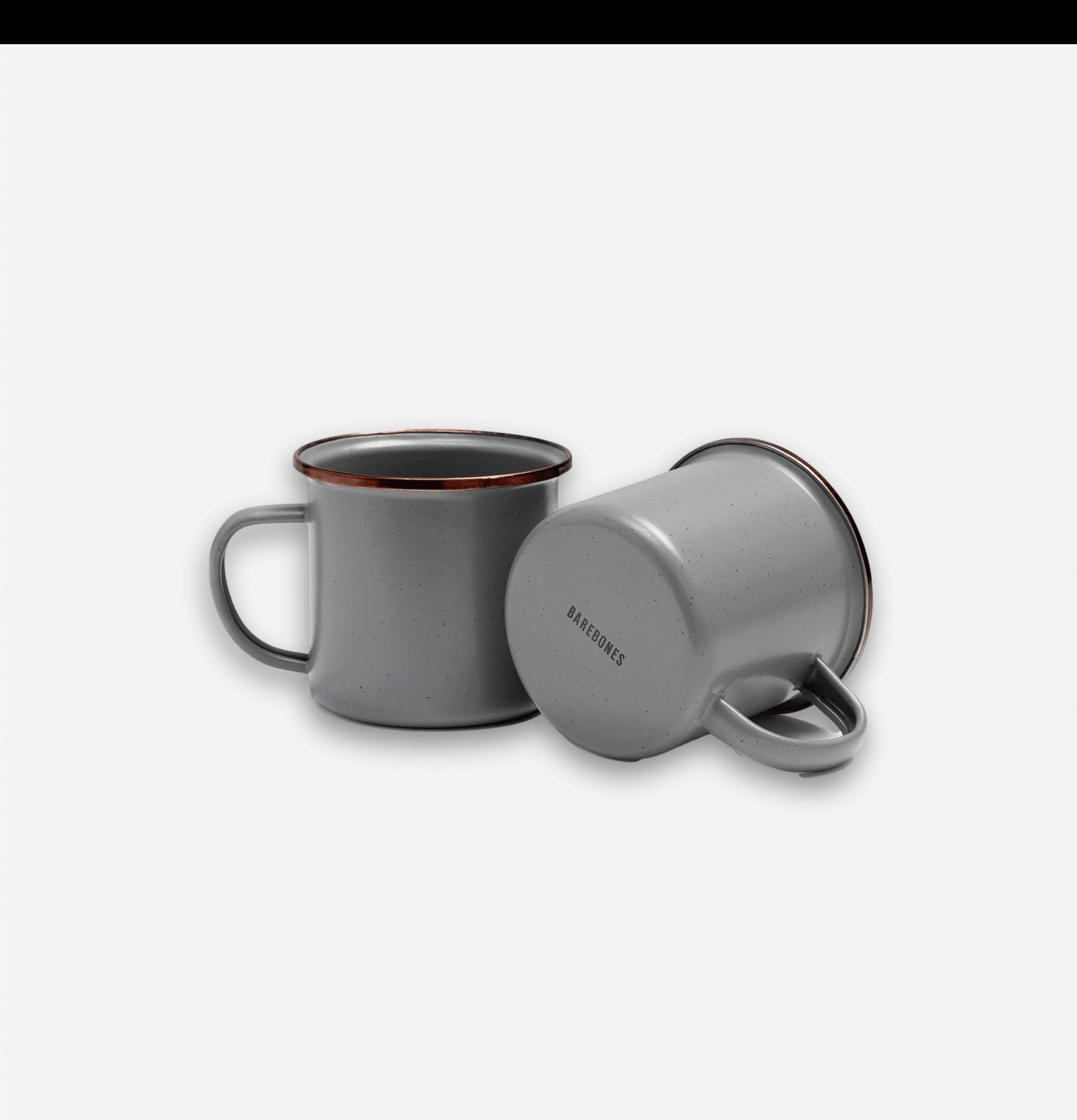 Enamel Cup Set x 2 Stone Grey
