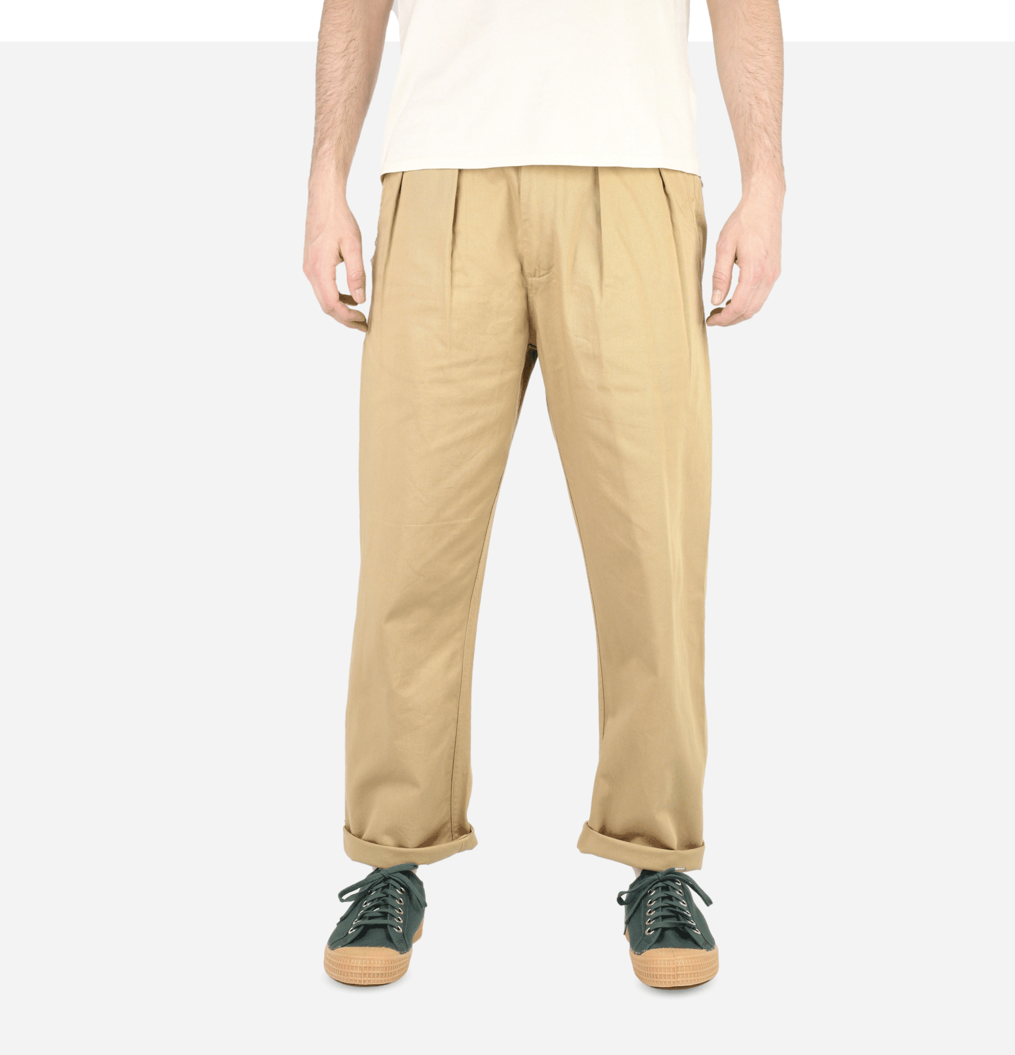 Double Pleat Pant Tan