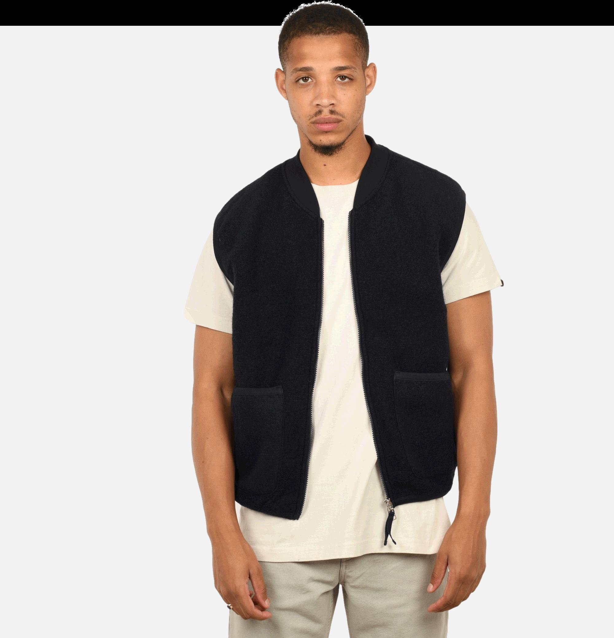 Gilet Wool Zip Navy