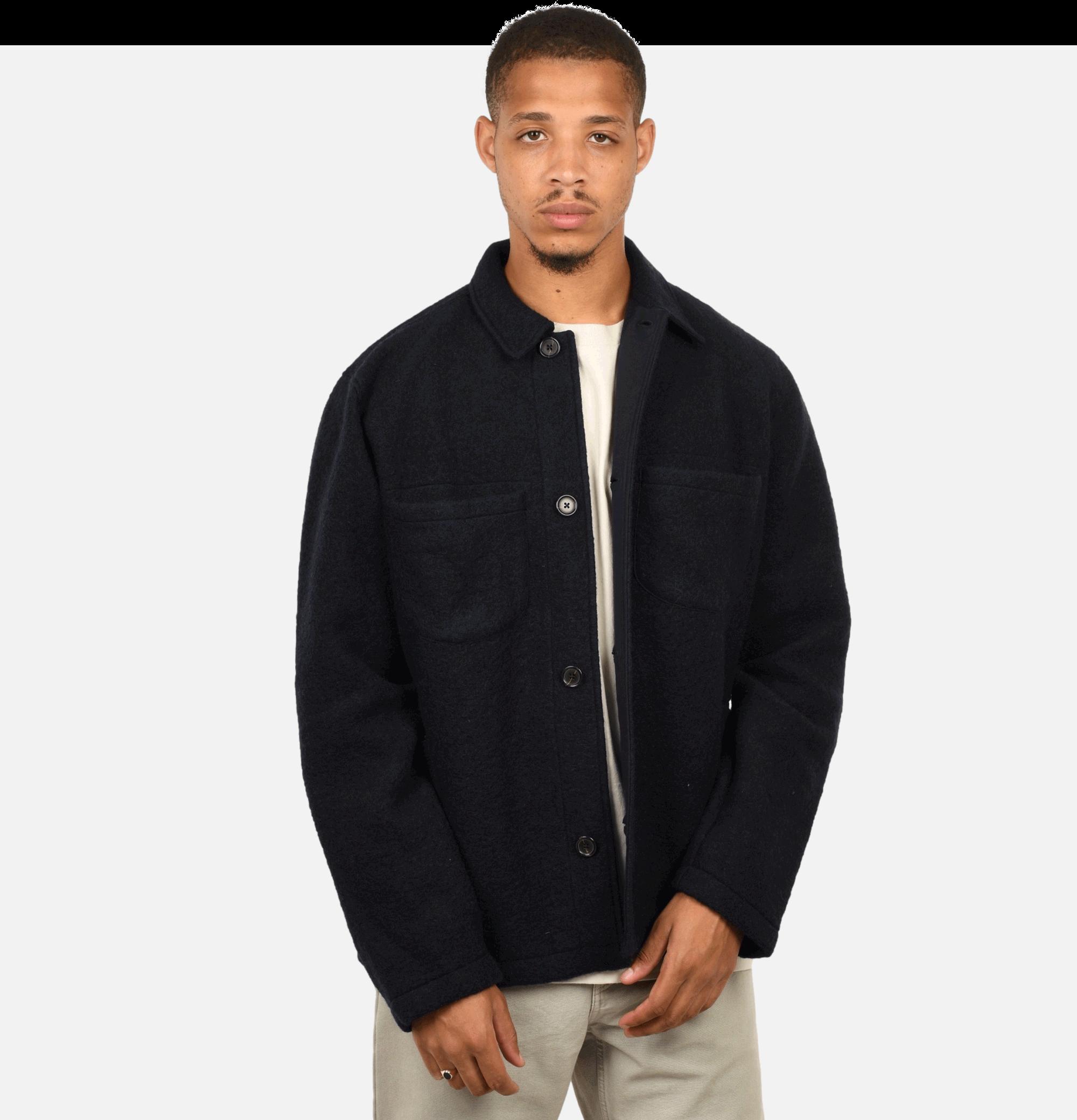Lumber Jacket Navy Wool Fleece