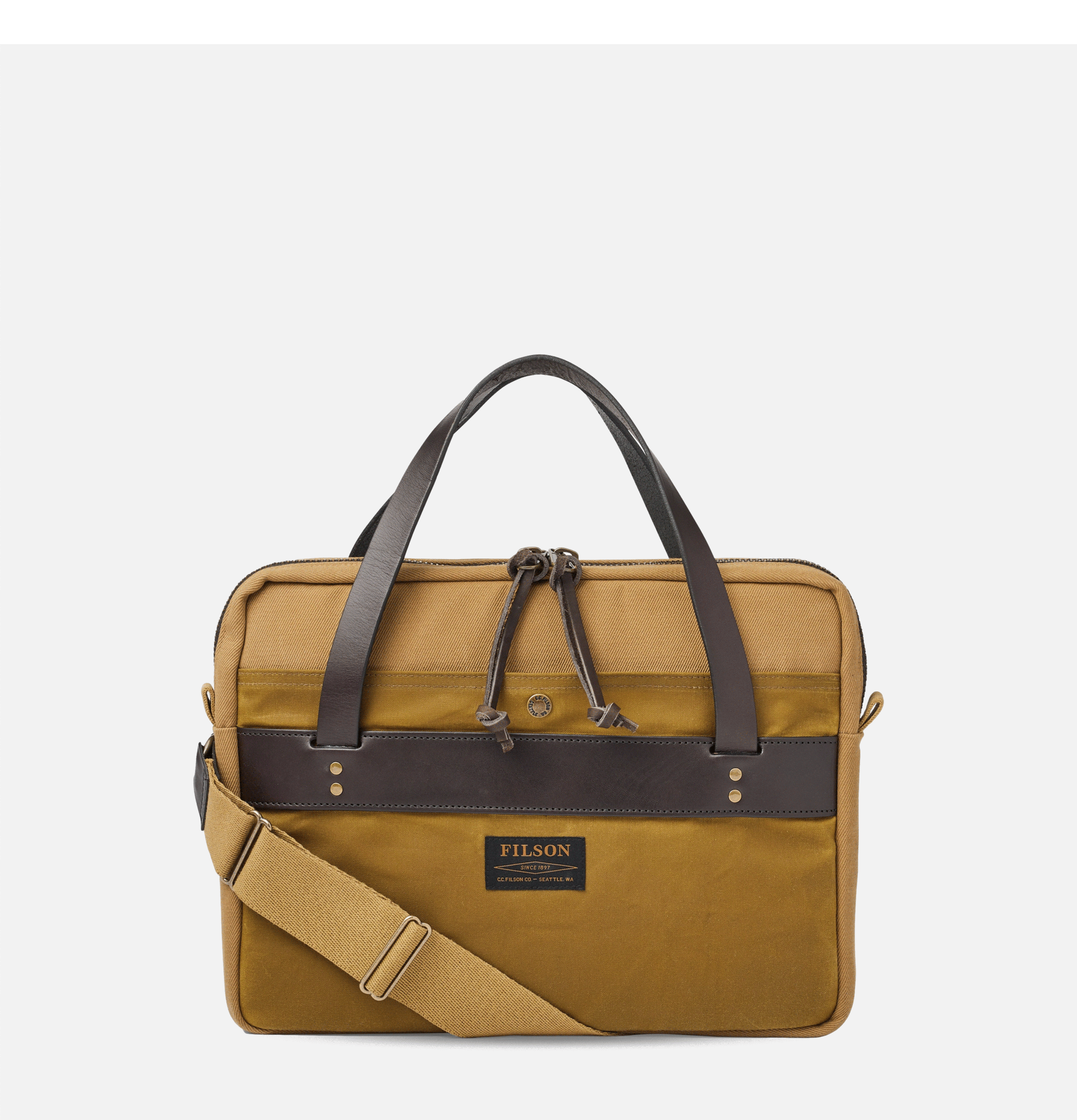 Rugged Compact Briefcase Tan