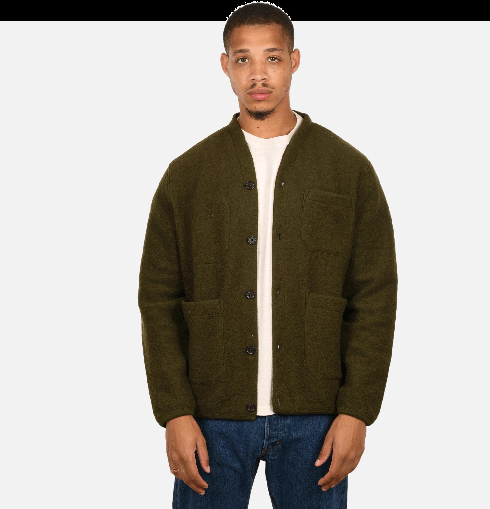 Cardigan Wool Fleece Olive