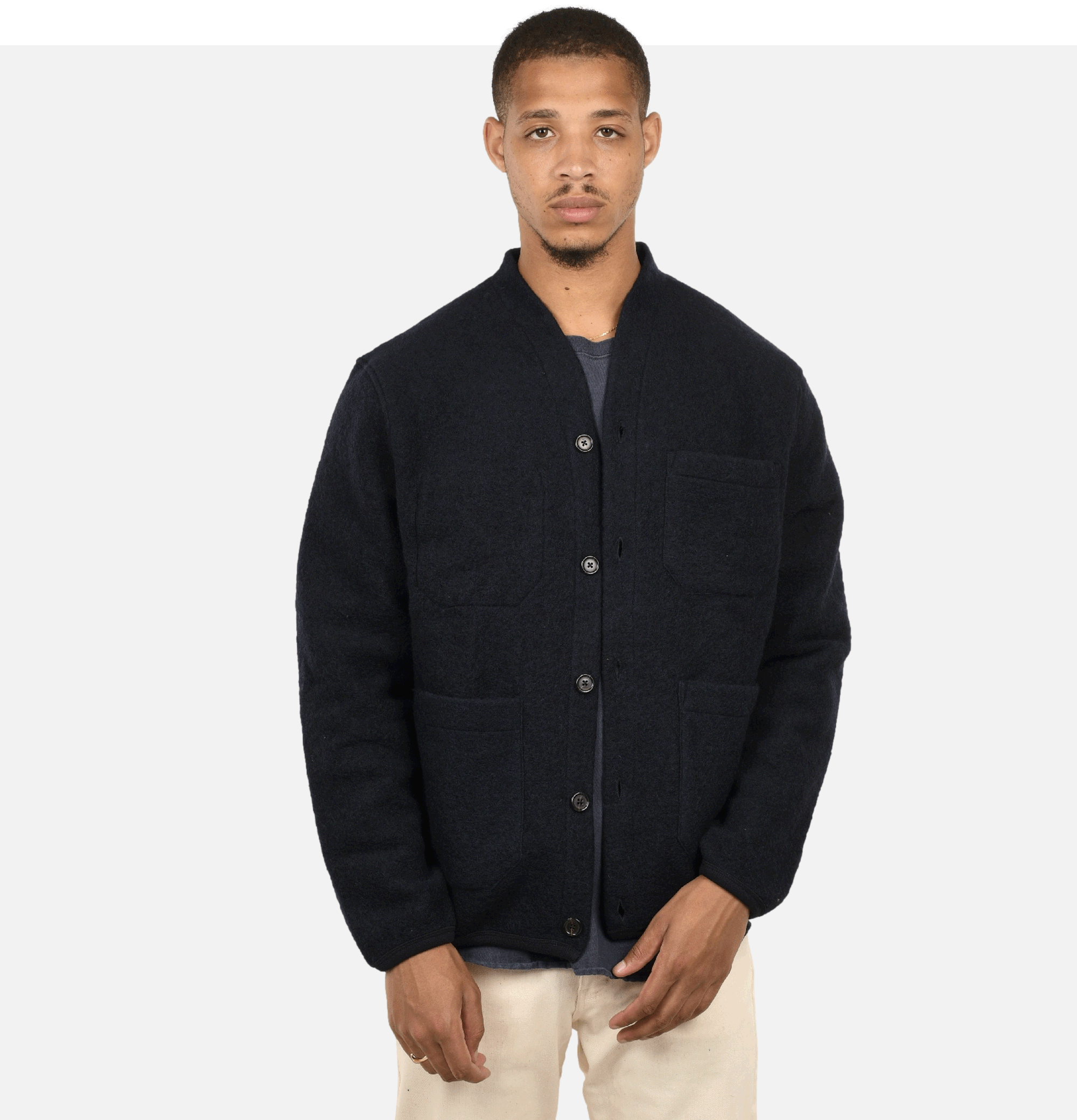 Cardigan Navy Wool Fleece